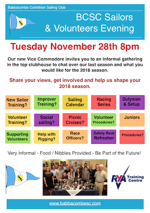 Sailors, Volunteers Evening Tuesday 28th Nov