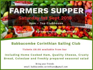 Farmers Supper Sat 1st Sept