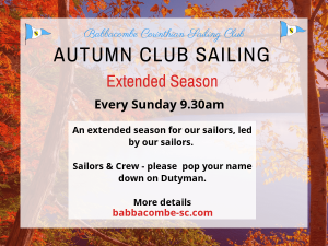 Autumn Sailing – Sunday's 9.30am